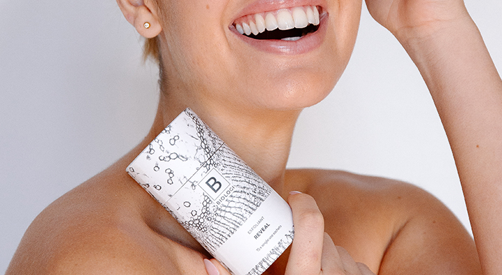 Bx exfoliant with model holding it
